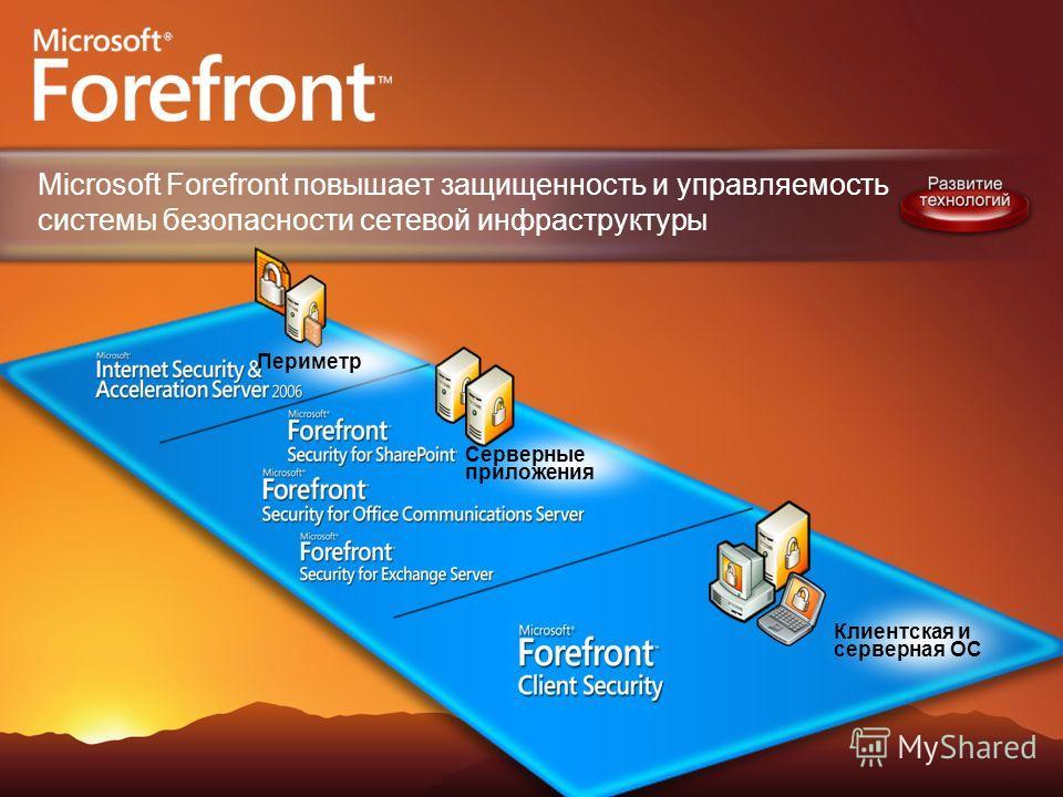 Клиентская и серверная ОС Серверные приложения Периметр Microsoft Forefront повышает защищенность и управляемость системы безопасности сетевой инфраструктуры