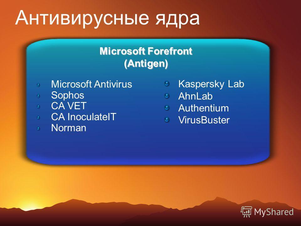 Антивирусные ядра Microsoft Forefront (Antigen) Microsoft Antivirus Sophos CA VET CA InoculateIT Norman Kaspersky Lab AhnLab Authentium VirusBuster