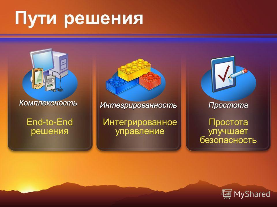 Интегрированное управление End-to-End решения Простота улучшает безопасность Пути решения Комплексность ИнтегрированностьПростота