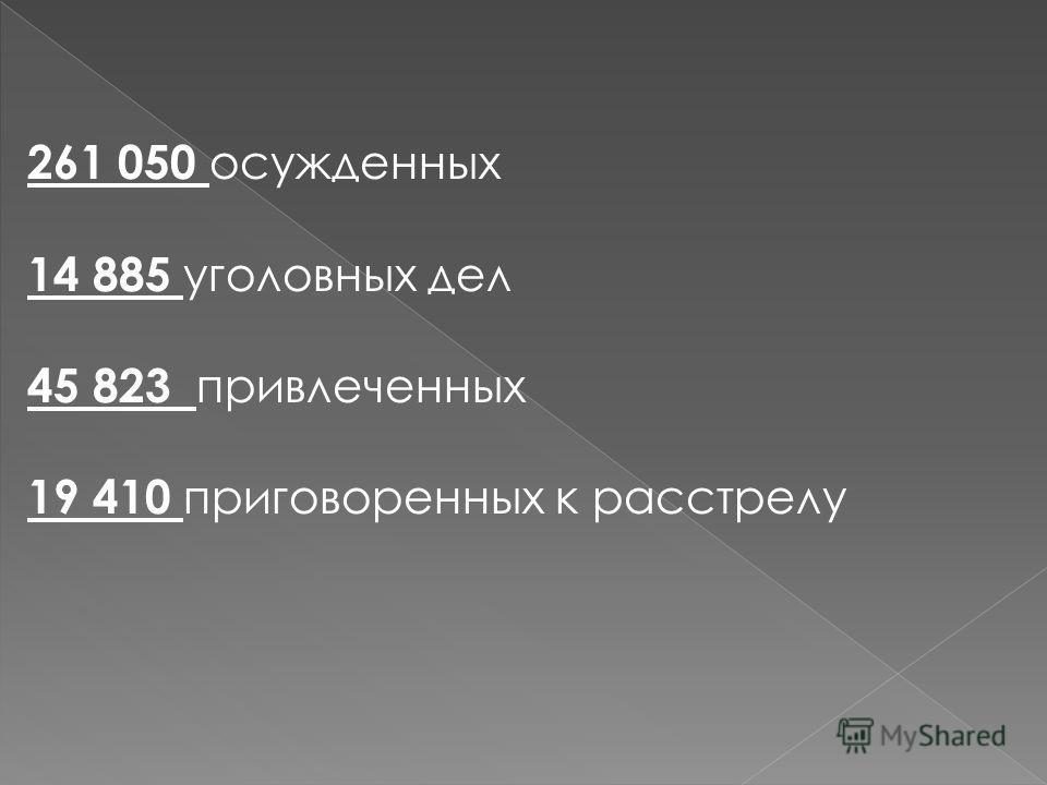 261 050 осужденных 14 885 уголовных дел 45 823 привлеченных 19 410 приговоренных к расстрелу