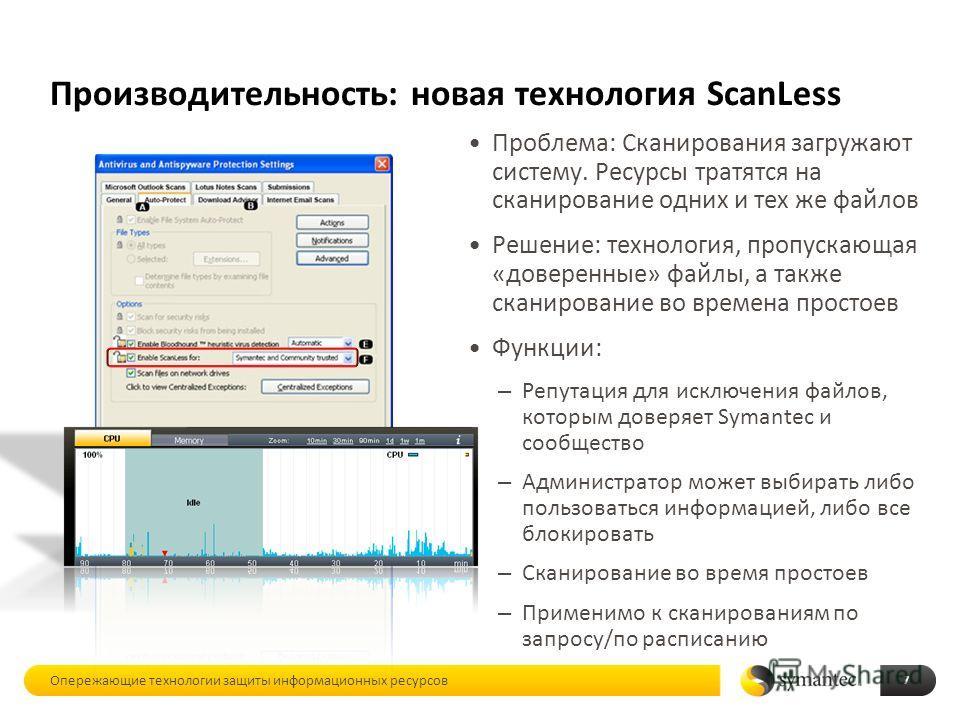 Производительность: новая технология ScanLess Проблема: Сканирования загружают систему. Ресурсы тратятся на сканирование одних и тех же файлов Решение: технология, пропускающая «доверенные» файлы, а также сканирование во времена простоев Функции: – Р