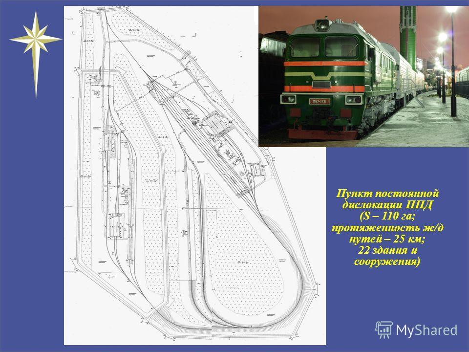 Пункт постоянной дислокации ППД (S – 110 га; протяженность ж/д путей – 25 км; 22 здания и сооружения) М 1:4000