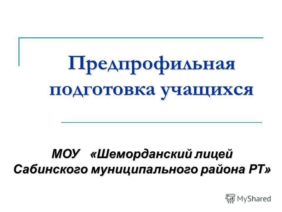 Предпрофильная подготовка учащихся МОУ «Шеморданский лицей Сабинского муниципального района РТ»