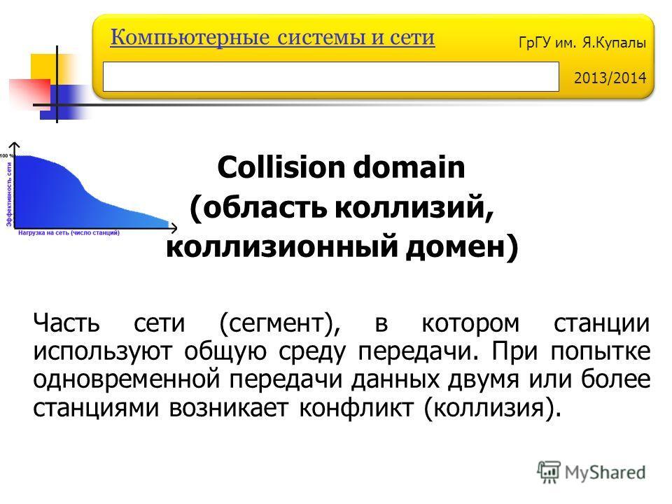 ГрГУ им. Я.Купалы 2013/2014 Компьютерные системы и сети Collision domain (область коллизий, коллизионный домен) Часть сети (сегмент), в котором станции используют общую среду передачи. При попытке одновременной передачи данных двумя или более станция