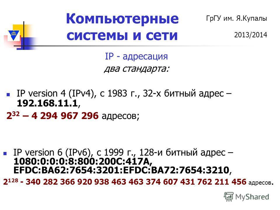 ГрГУ им. Я.Купалы 2013/2014 Компьютерные системы и сети IP - адресация два стандарта: IP version 4 (IPv4), c 1983 г., 32-х битный адрес – 192.168.11.1, 2 32 – 4 294 967 296 адресов; IP version 6 (IPv6), c 1999 г., 128-и битный адрес – 1080:0:0:0:8:80