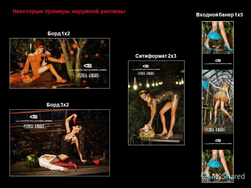 Некоторые примеры наружной рекламы Входной банер 1х5 Борд 3х2 Борд 1х2 Ситиформат 2х3