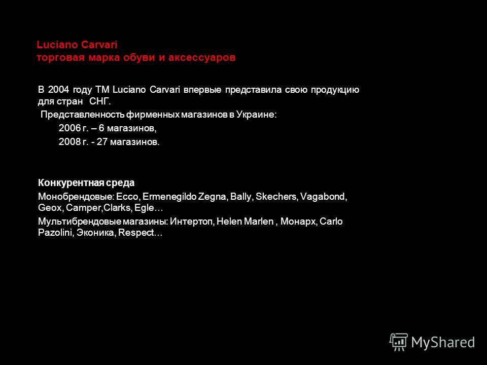 Luciano Carvari торговая марка обуви и аксессуаров В 2004 году ТМ Luciano Carvari впервые представила свою продукцию для стран СНГ. Представленность фирменных магазинов в Украине: 2006 г. – 6 магазинов, 2008 г. - 27 магазинов. Конкурентная среда Моно