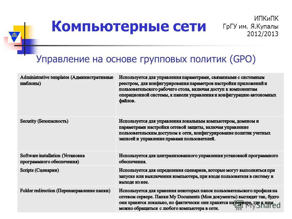 Компьютерные сети ИПКиПК ГрГУ им. Я.Купалы 2012/2013 Управление на основе групповых политик (GPO)