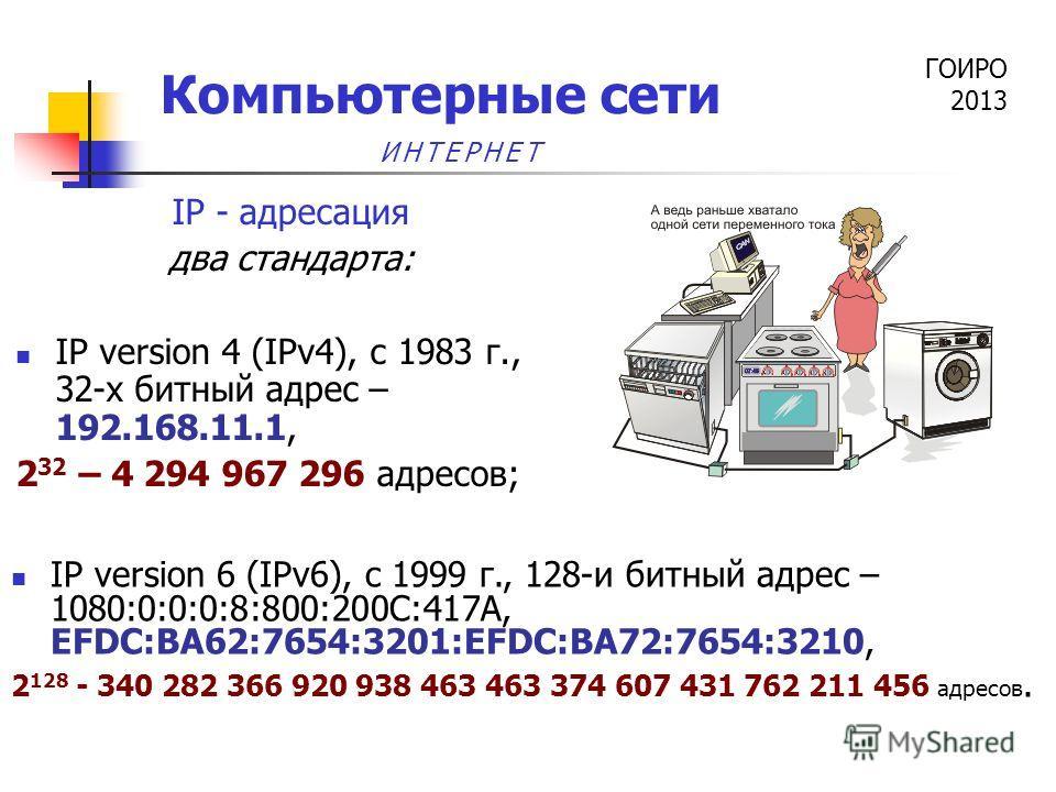 ГОИРО 2013 Компьютерные сети IP - адресация два стандарта: IP version 4 (IPv4), c 1983 г., 32-х битный адрес – 192.168.11.1, 2 32 – 4 294 967 296 адресов; IP version 6 (IPv6), c 1999 г., 128-и битный адрес – 1080:0:0:0:8:800:200C:417A, EFDC:BA62:7654