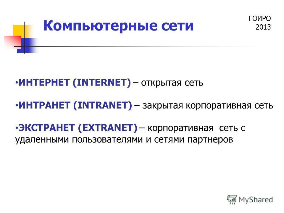 ГОИРО 2013 Компьютерные сети ИНТЕРНЕТ (INTERNET) – открытая сеть ИНТРАНЕТ (INTRANET) – закрытая корпоративная сеть ЭКСТРАНЕТ (EXTRANET) – корпоративная сеть с удаленными пользователями и сетями партнеров
