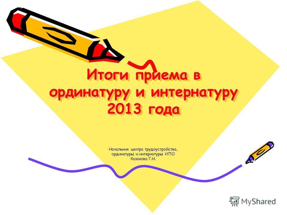 Итоги приема в ординатуру и интернатуру 2013 года Начальник центра трудоустройства, ординатуры и интернатуры ИПО Казакова Г.Н.