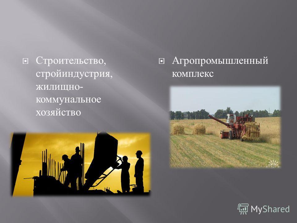 Строительство, стройиндустрия, жилищно - коммунальное хозяйство Агропромышленный комплекс