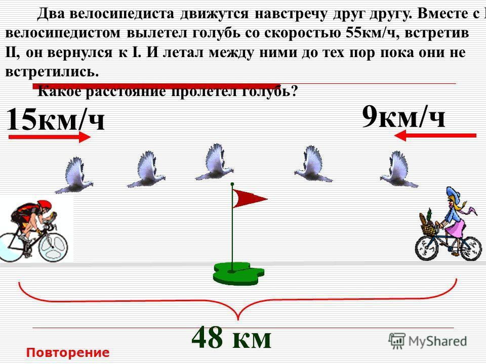 Два велосипедиста движутся навстречу друг другу. Вместе с I велосипедистом вылетел голубь со скоростью 55км/ч, встретив II, он вернулся к I. И летал между ними до тех пор пока они не встретились. Какое расстояние пролетел голубь? 15км/ч 9км/ч 48 км П