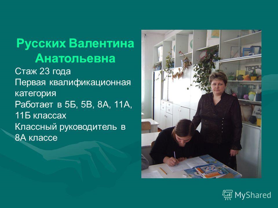 Русских Валентина Анатольевна Стаж 23 года Первая квалификационная категория Работает в 5Б, 5В, 8А, 11А, 11Б классах Классный руководитель в 8А классе