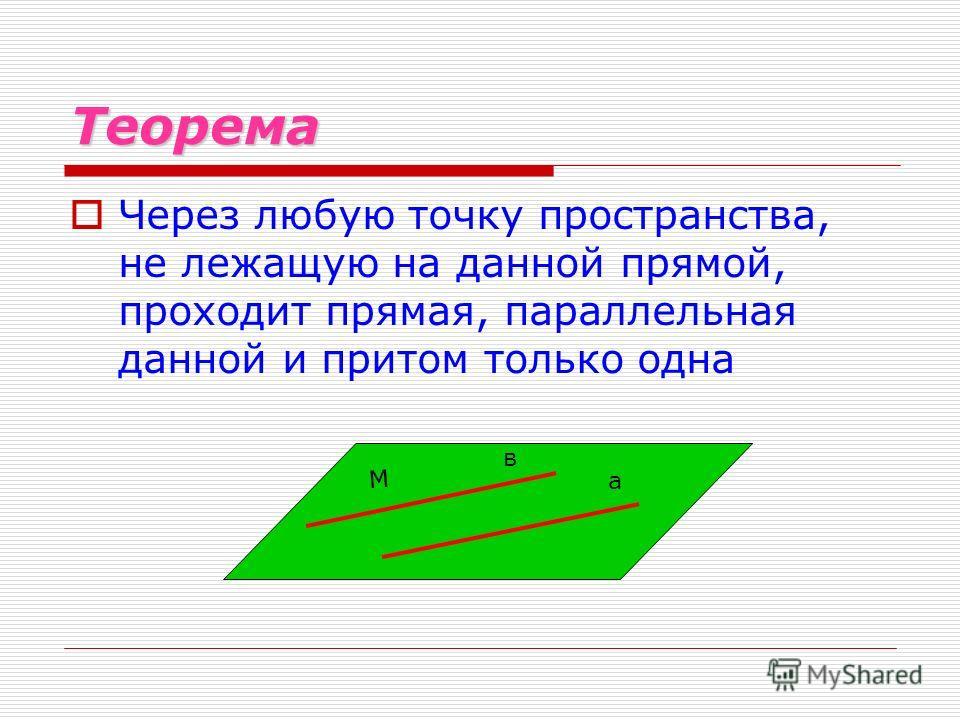 Теорема Через любую точку пространства, не лежащую на данной прямой, проходит прямая, параллельная данной и притом только одна в а М