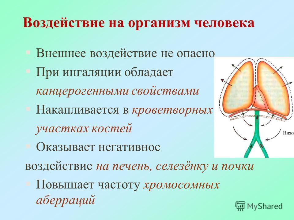 Воздействие на организм человека §Внешнее воздействие не опасно §При ингаляции обладает канцерогенными свойствами §Накапливается в кроветворных участках костей §Оказывает негативное воздействие на печень, селезёнку и почки §Повышает частоту хромосомн