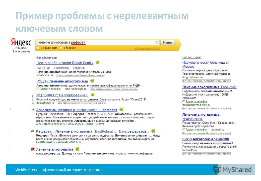 WebProfiters эффективный интернет-маркетинг Пример проблемы с нерелевантным ключевым словом 16