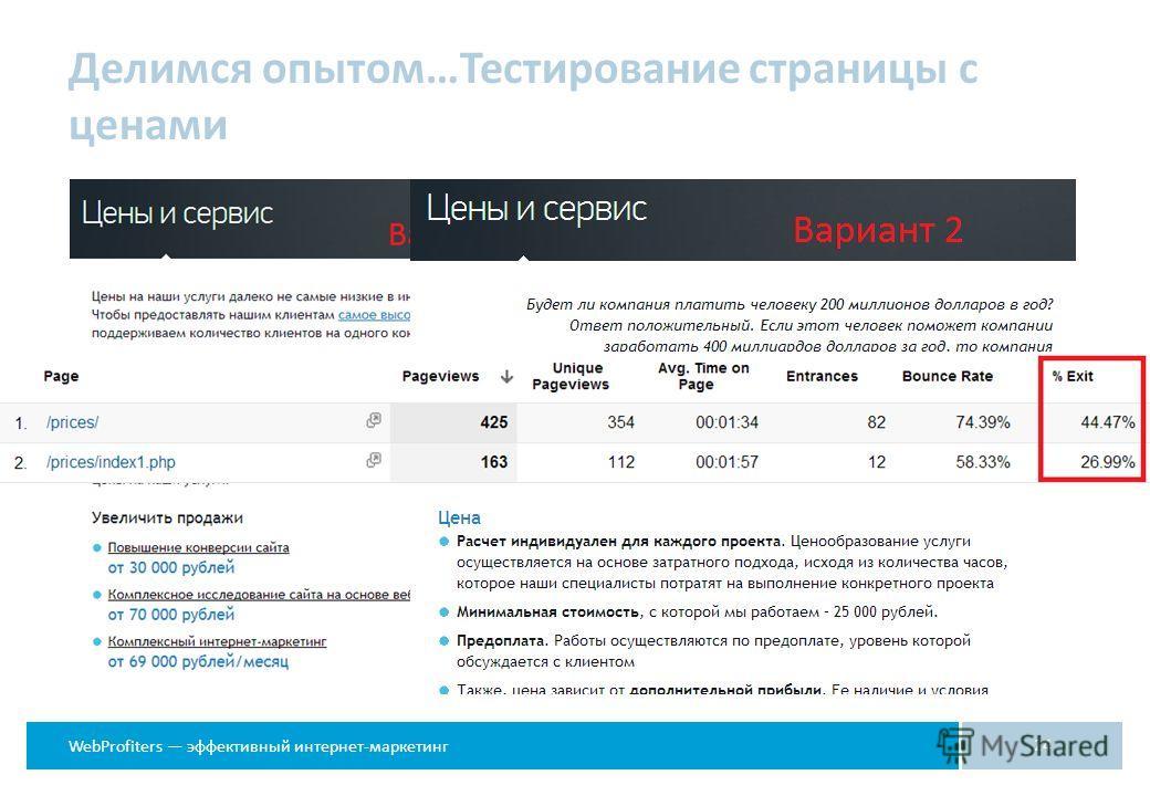 WebProfiters эффективный интернет-маркетинг Делимся опытом…Тестирование страницы с ценами 24