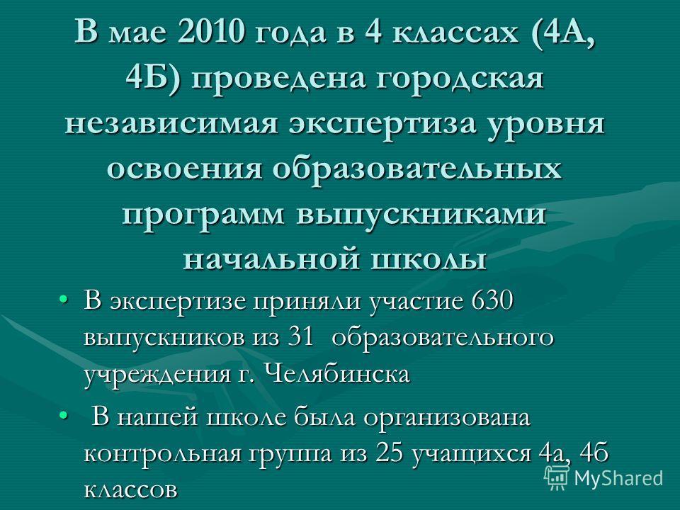 В мае 2010 года в 4 классах (4А, 4Б) проведена городская независимая экспертиза уровня освоения образовательных программ выпускниками начальной школы В экспертизе приняли участие 630 выпускников из 31 образовательного учреждения г. ЧелябинскаВ экспер
