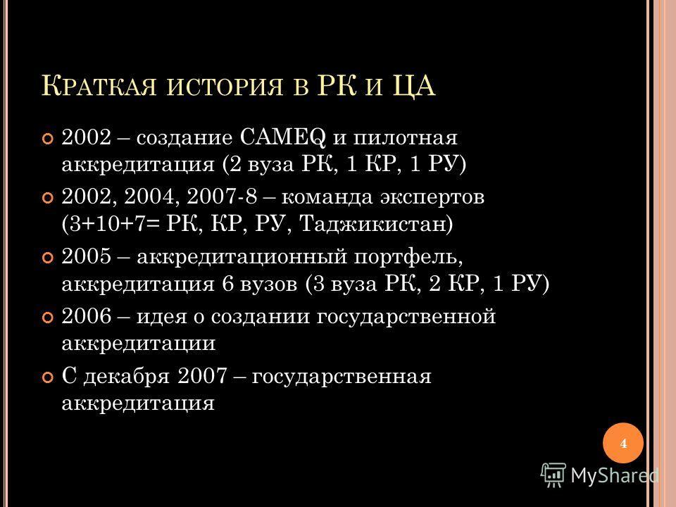 К РАТКАЯ ИСТОРИЯ В РК И ЦА 2002 – создание CAMEQ и пилотная аккредитация (2 вуза РК, 1 КР, 1 РУ) 2002, 2004, 2007-8 – команда экспертов (3+10+7= РК, КР, РУ, Таджикистан) 2005 – аккредитационный портфель, аккредитация 6 вузов (3 вуза РК, 2 КР, 1 РУ) 2