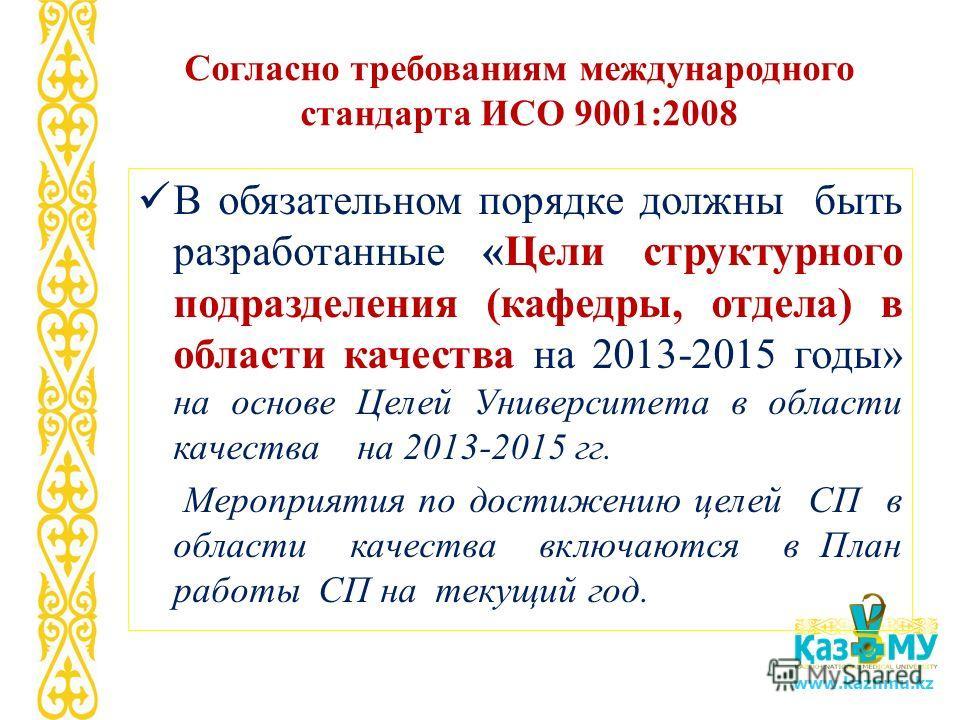 www.kaznmu.kz Согласно требованиям международного стандарта ИСО 9001:2008 В обязательном порядке должны быть разработанные «Цели структурного подразделения (кафедры, отдела) в области качества на 2013-2015 годы» на основе Целей Университета в области