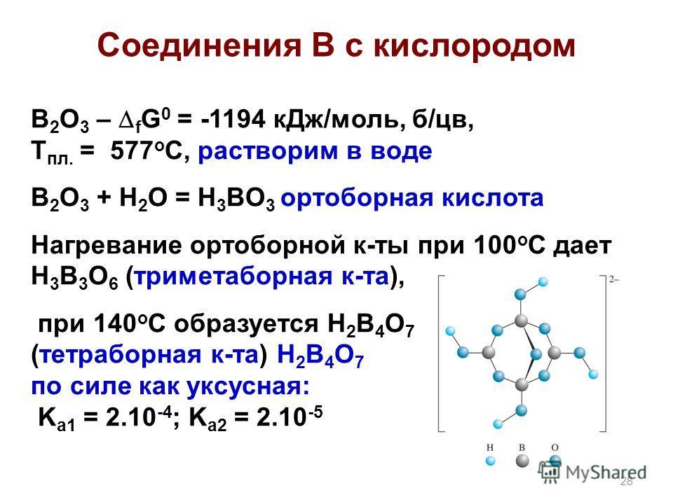 Соединения В с кислородом B 2 O 3 – f G 0 = -1194 кДж/моль, б/цв, Т пл. = 577 о С, растворим в воде B 2 O 3 + H 2 O = H 3 BO 3 ортоборная кислота Нагревание ортоборной к-ты при 100 o C дает H 3 B 3 O 6 (триметаборная к-та), при 140 о С образуется H 2