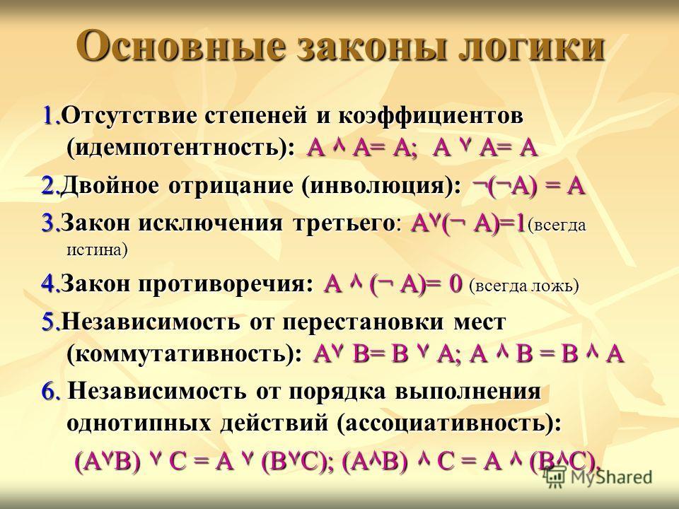 Основные законы логики 1.Отсутствие степеней и коэффициентов (идемпотентность): А ٨ А= А; А ۷ А= А 2.Двойное отрицание (инволюция): ¬(¬А) = А 3.Закон исключения третьего: А۷(¬ А)=1 (всегда истина) 4.Закон противоречия: А ٨ (¬ А)= 0 (всегда ложь) 5.Не