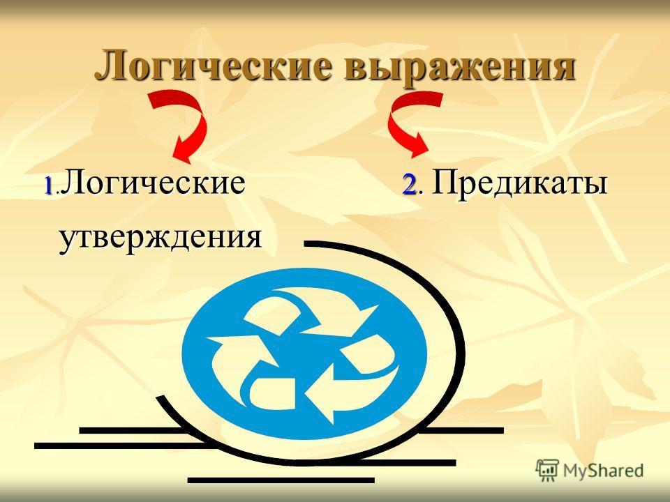 Логические выражения 1. Логические 2. Предикаты утверждения утверждения