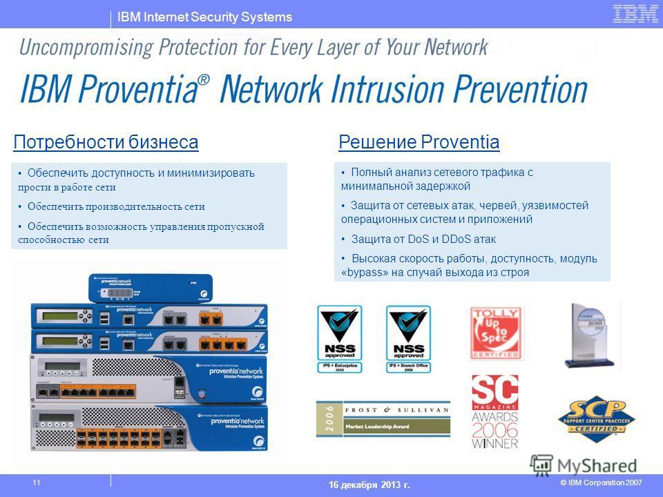 IBM Internet Security Systems © IBM Corporation 2007 16 декабря 2013 г. 11 Потребности бизнесаРешение Proventia Обеспечить доступность и минимизировать прости в работе сети Обеспечить производительность сети Обеспечить возможность управления пропускн