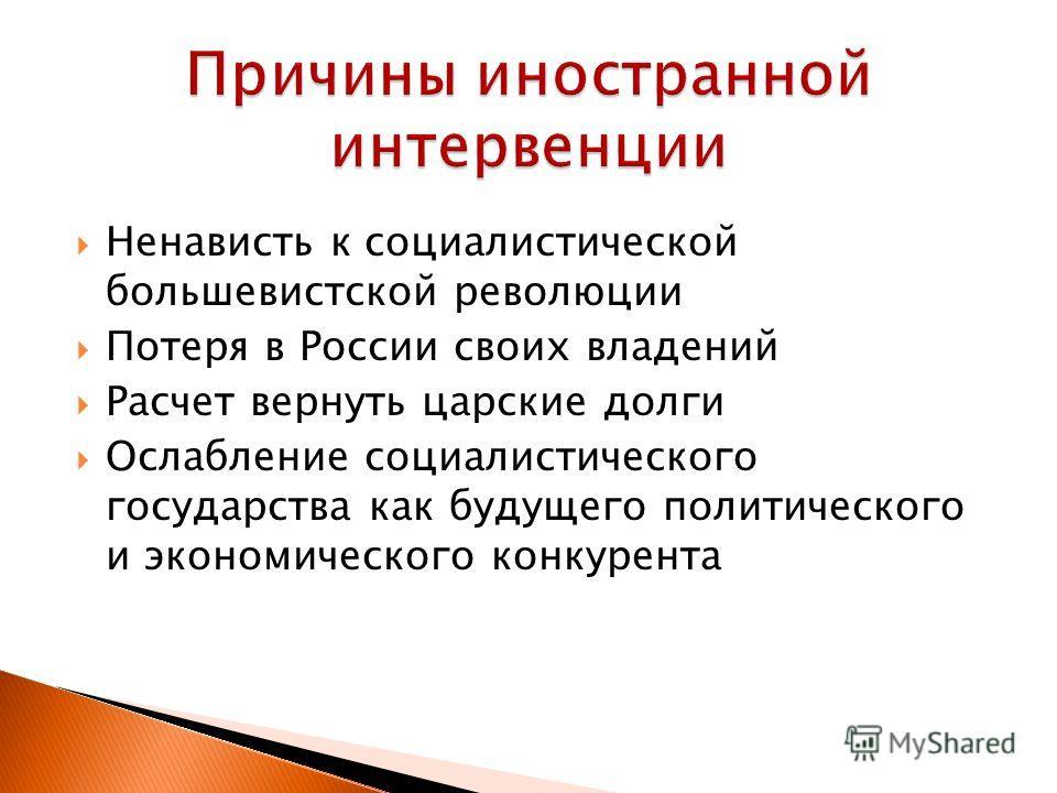 Ненависть к социалистической большевистской революции Потеря в России своих владений Расчет вернуть царские долги Ослабление социалистического государства как будущего политического и экономического конкурента