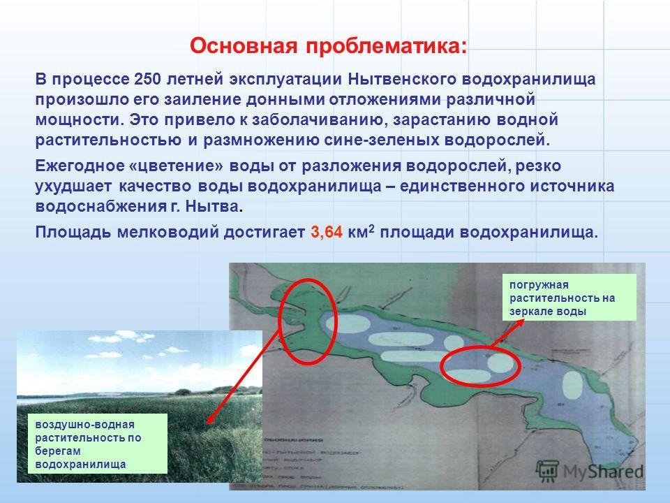 Основная проблематика: В процессе 250 летней эксплуатации Нытвенского водохранилища произошло его заиление донными отложениями различной мощности. Это привело к заболачиванию, зарастанию водной растительностью и размножению сине-зеленых водорослей. Е