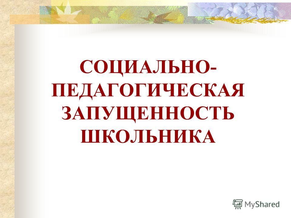 СОЦИАЛЬНО- ПЕДАГОГИЧЕСКАЯ ЗАПУЩЕННОСТЬ ШКОЛЬНИКА