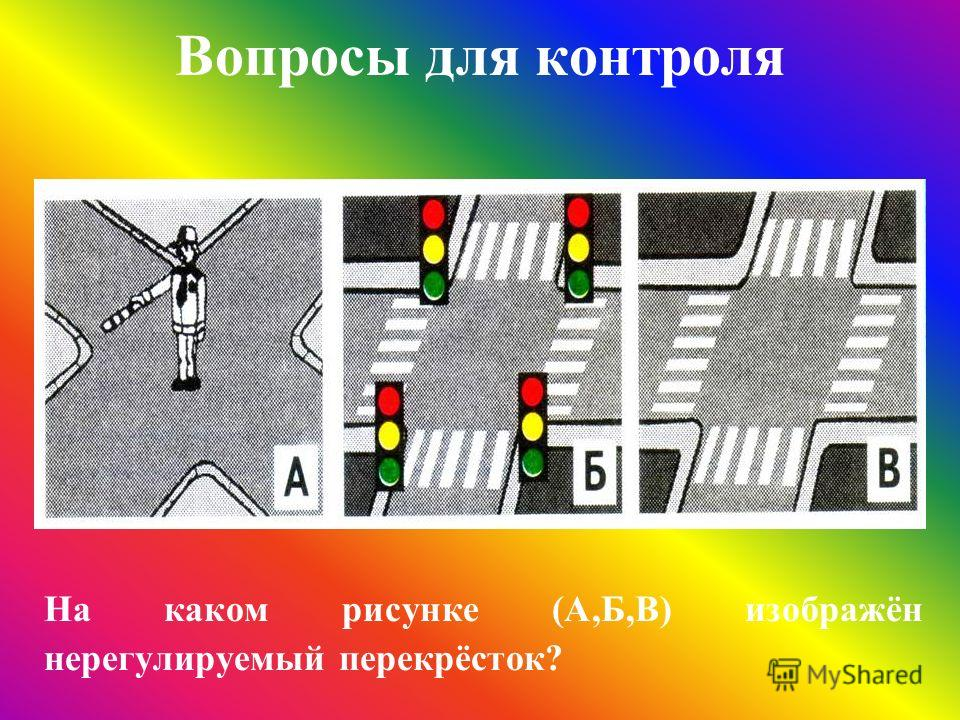 Вопросы для контроля На каком рисунке (А,Б,В) изображён нерегулируемый перекрёсток?