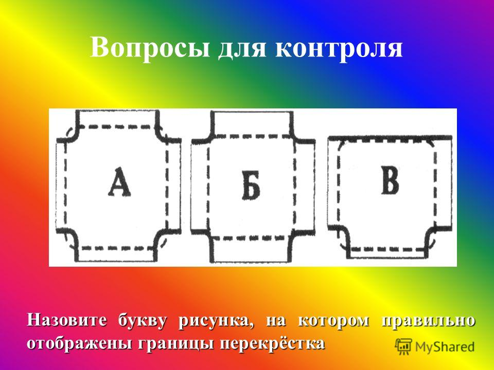 Вопросы для контроля Назовите букву рисунка, на котором правильно отображены границы перекрёстка