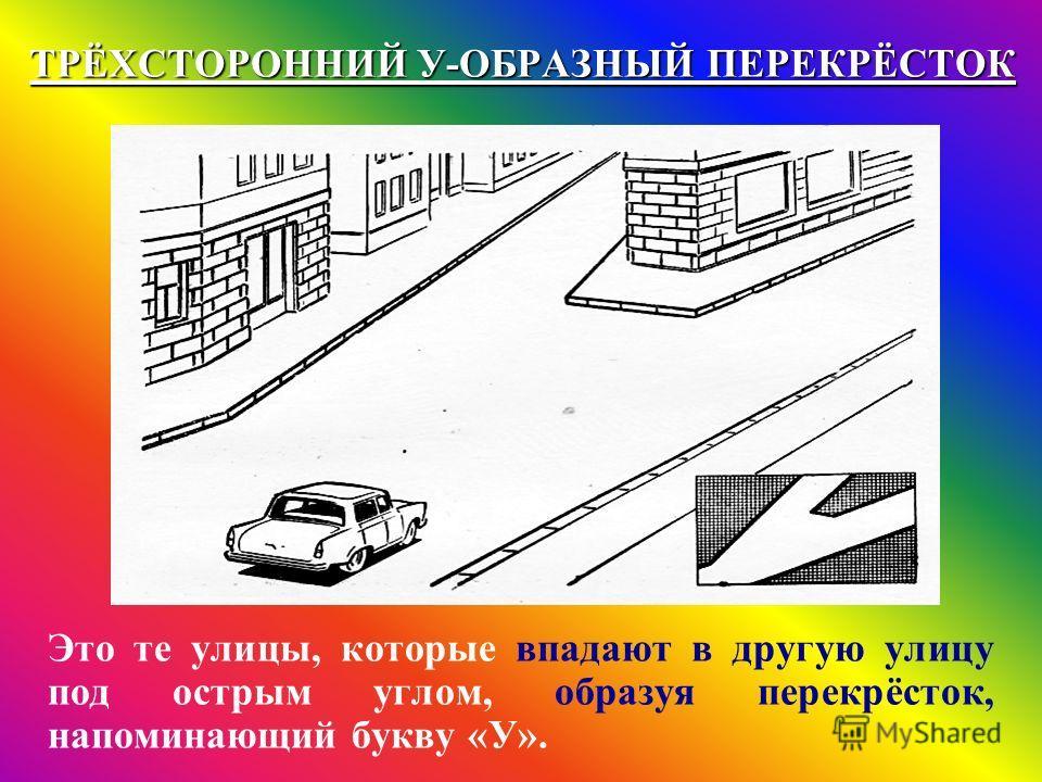 ТРЁХСТОРОННИЙ У-ОБРАЗНЫЙ ПЕРЕКРЁСТОК Это те улицы, которые впадают в другую улицу под острым углом, образуя перекрёсток, напоминающий букву «У».