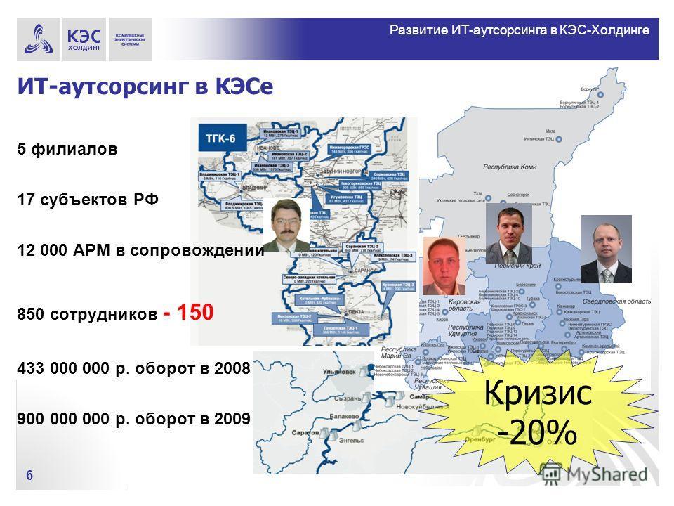 Развитие ИТ-аутсорсинга в КЭС-Холдинге ИТ-аутсорсинг в КЭСе 6 5 филиалов 17 субъектов РФ 12 000 АРМ в сопровождении 850 сотрудников - 150 433 000 000 р. оборот в 2008 900 000 000 р. оборот в 2009 Кризис -20%