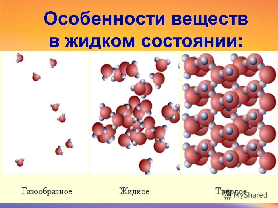 Особенности веществ в жидком состоянии: 1) 2) 3) 4)