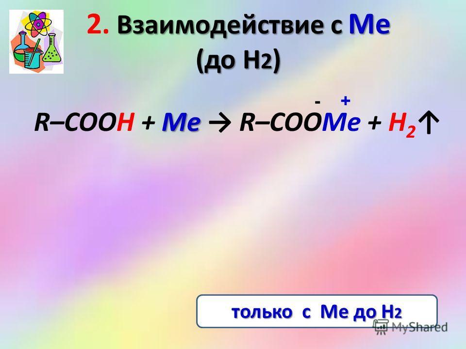 Взаимодействие с Ме (до Н 2 ) 2. Взаимодействие с Ме (до Н 2 ) Me R–COOH + Me R–COOMe + H 2 - + только с Ме до Н 2