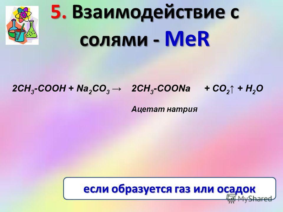 5. Взаимодействие с солями - МеR 2СН 3 -COOH + Na 2 СО 3 2CH 3 -COONa+ СО 2 + H 2 О Ацетат натрия если образуется газ или осадок