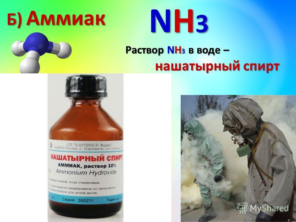 газ газ без цвета без цвета резкий запах резкий запах очень хорошо растворим в воде (700: 1) очень хорошо растворим в воде (700: 1) при больших концентрациях ядовит при больших концентрациях ядовит Б) Аммиак NH3NH3NH3NH3 Раствор NH 3 в воде – нашатыр