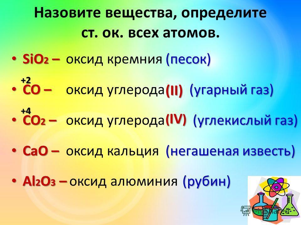 Назовите вещества, определите ст. ок. всех атомов. SiO 2 – SiO 2 – CO – CO – CO 2 – CO 2 – CaO – CaO – Al 2 O 3 – Al 2 O 3 – оксид кремния оксид углерода оксид кальция оксид алюминия(песок) (угарный газ) (угарный газ) (углекислый газ) (углекислый газ