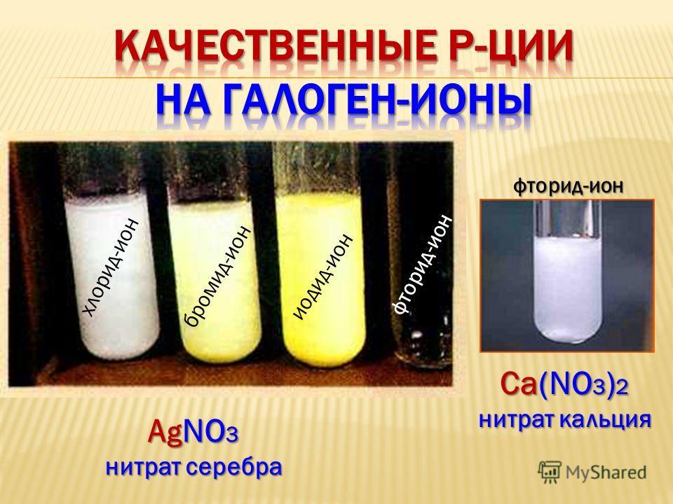 фторид-ион хлорид-ион бромид-ион иодид-ион фторид-ион A g NO 3 нитрат серебра Са(NO 3 ) 2 нитрат кальция