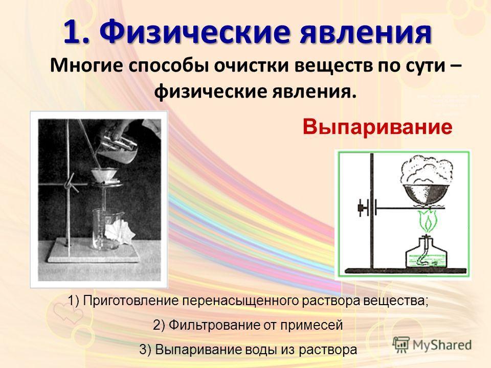 Многие способы очистки веществ по сути – физические явления. 1. Физические явления Выпаривание 1) Приготовление перенасыщенного раствора вещества; 2) Фильтрование от примесей 3) Выпаривание воды из раствора