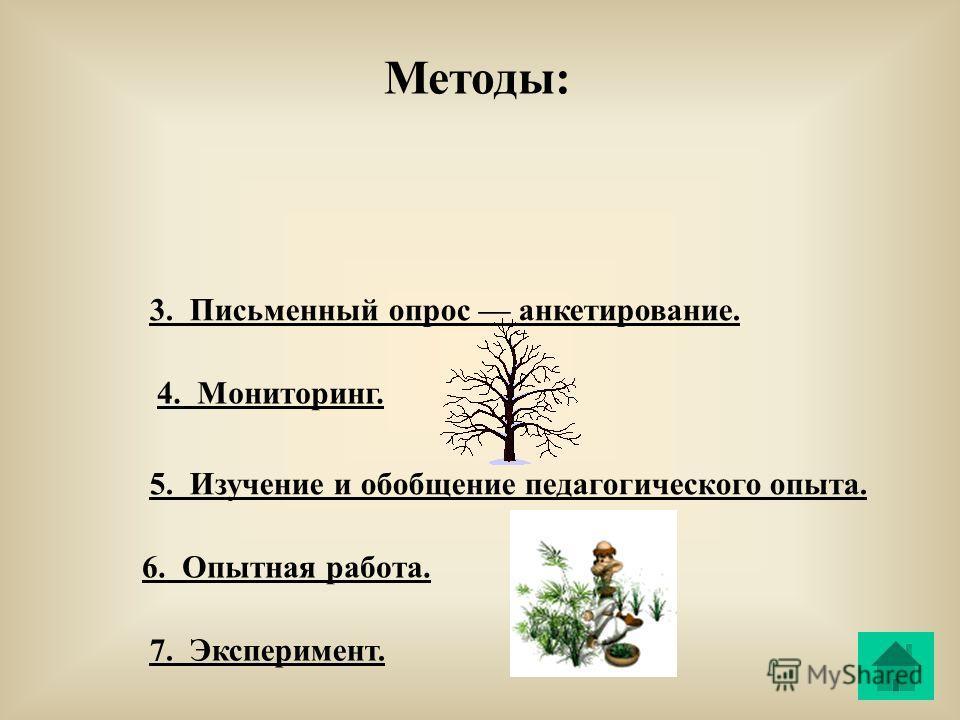 3. Письменный опрос анкетирование. 4. Мониторинг. 5. Изучение и обобщение педагогического опыта. 6. Опытная работа. 7. Эксперимент. Методы: