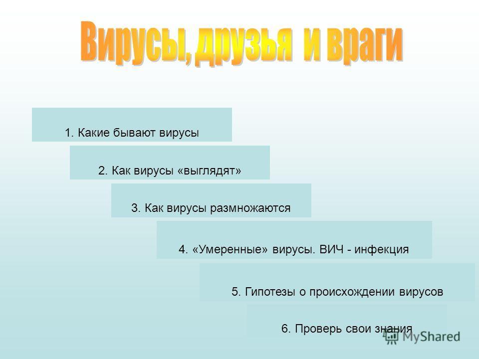 1. Какие бывают вирусы 2. Как вирусы «выглядят» 3. Как вирусы размножаются 4. «Умеренные» вирусы. ВИЧ - инфекция 5. Гипотезы о происхождении вирусов 6. Проверь свои знания