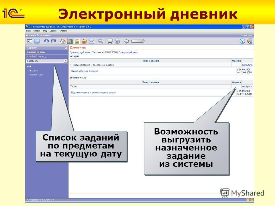 Электронный дневник Список заданий по предметам на текущую дату Возможность выгрузить назначенное задание из системы