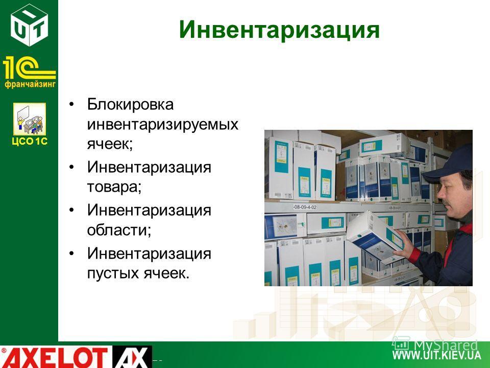 ЦСО 1С Инвентаризация Блокировка инвентаризируемых ячеек; Инвентаризация товара; Инвентаризация области; Инвентаризация пустых ячеек.