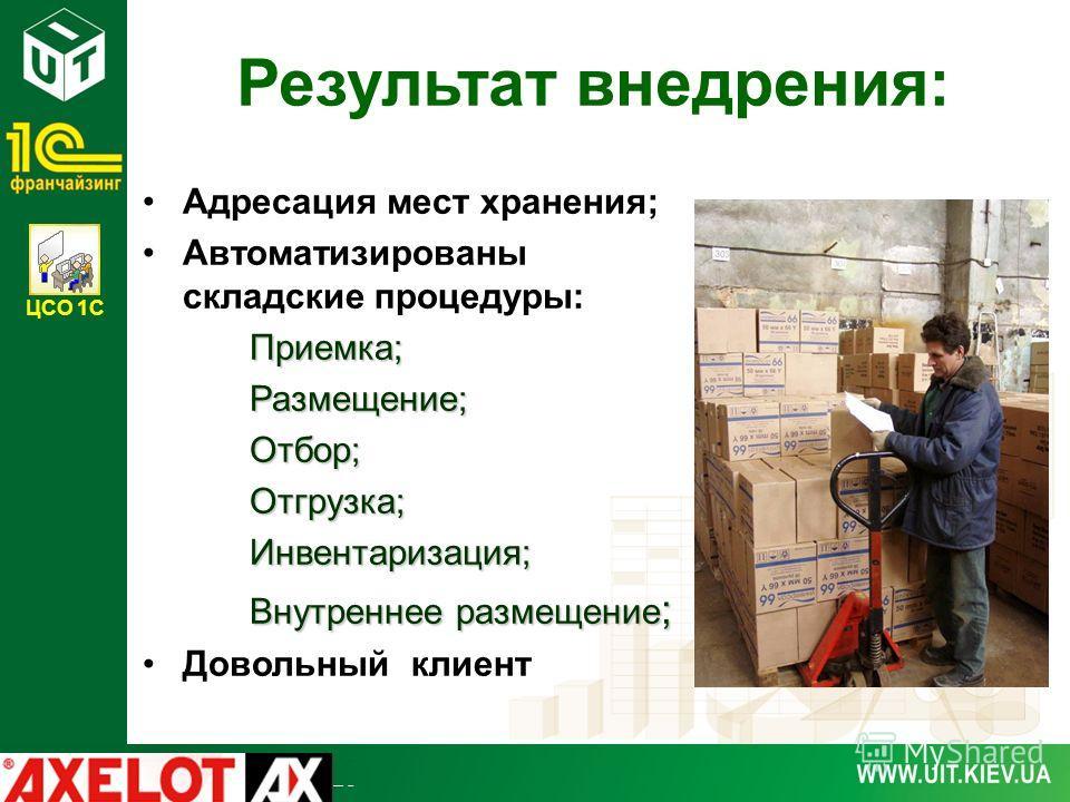 ЦСО 1С Результат внедрения: Адресация мест хранения; Автоматизированы складские процедуры:Приемка;Размещение;Отбор;Отгрузка;Инвентаризация; Внутреннее размещение ; Довольный клиент