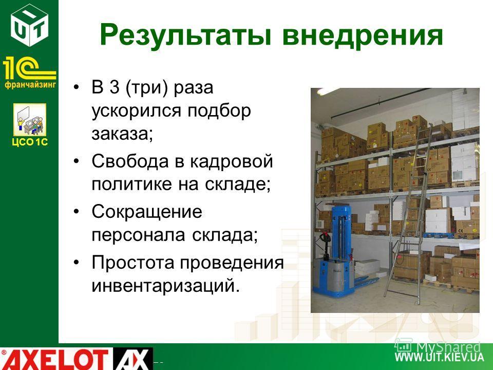 ЦСО 1С Результаты внедрения В 3 (три) раза ускорился подбор заказа; Свобода в кадровой политике на складе; Сокращение персонала склада; Простота проведения инвентаризаций.