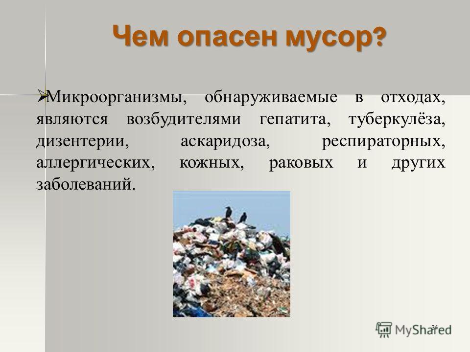 Микроорганизмы, обнаруживаемые в отходах, являются возбудителями гепатита, туберкулёза, дизентерии, аскаридоза, респираторных, аллергических, кожных, раковых и других заболеваний. Чем опасен мусор ? 34